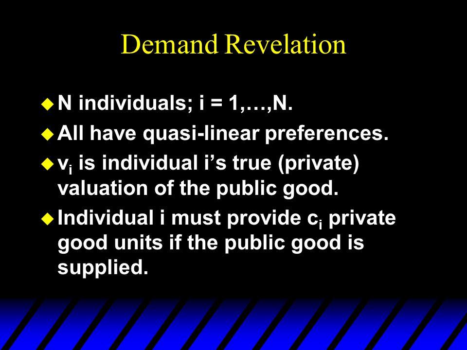Demand Revelation u N individuals; i = 1,…,N. u All have quasi-linear preferences.