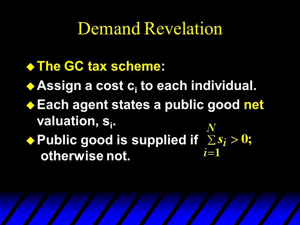 Demand Revelation u The GC tax scheme: u Assign a cost c i to each individual.