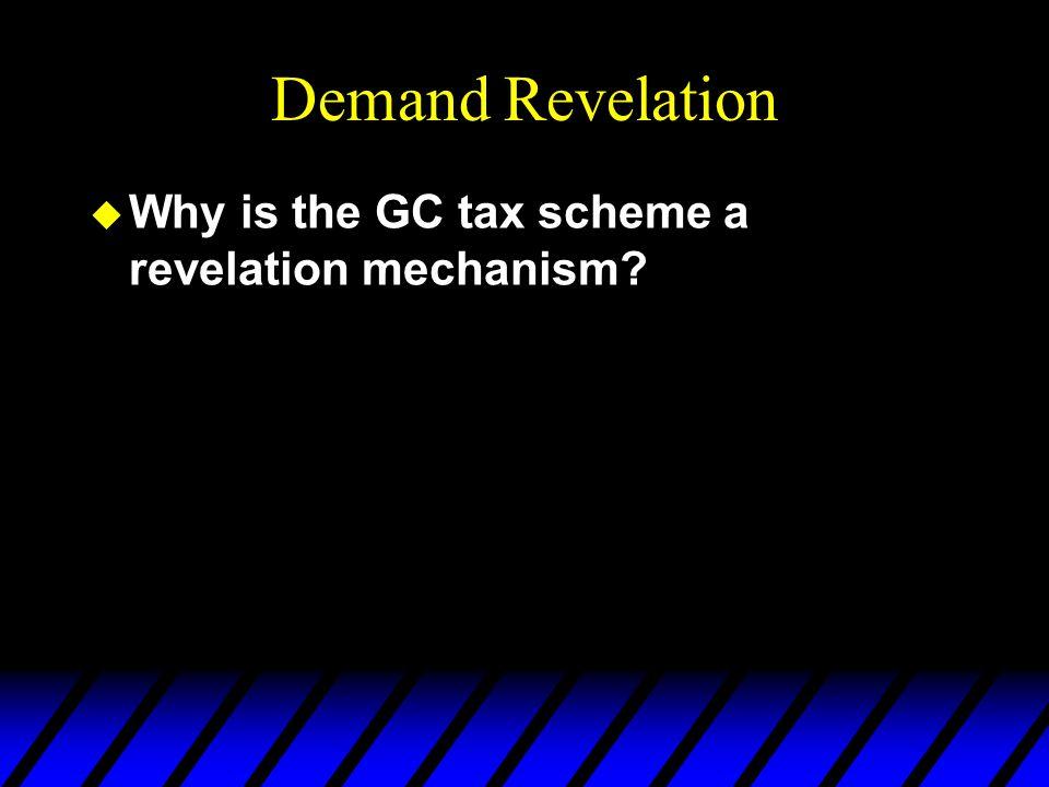 Demand Revelation u Why is the GC tax scheme a revelation mechanism