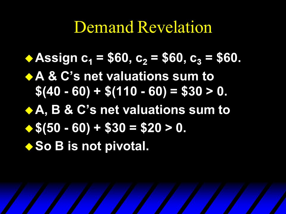 Demand Revelation u What net valuation s B should B state?