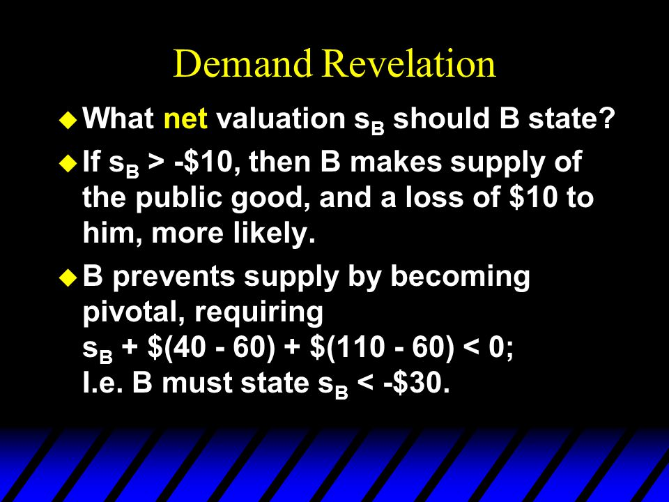 Demand Revelation u What net valuation s B should B state.