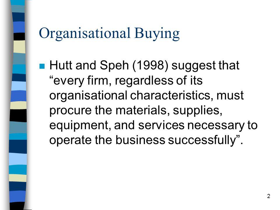 3 Organisational Buying (contd)