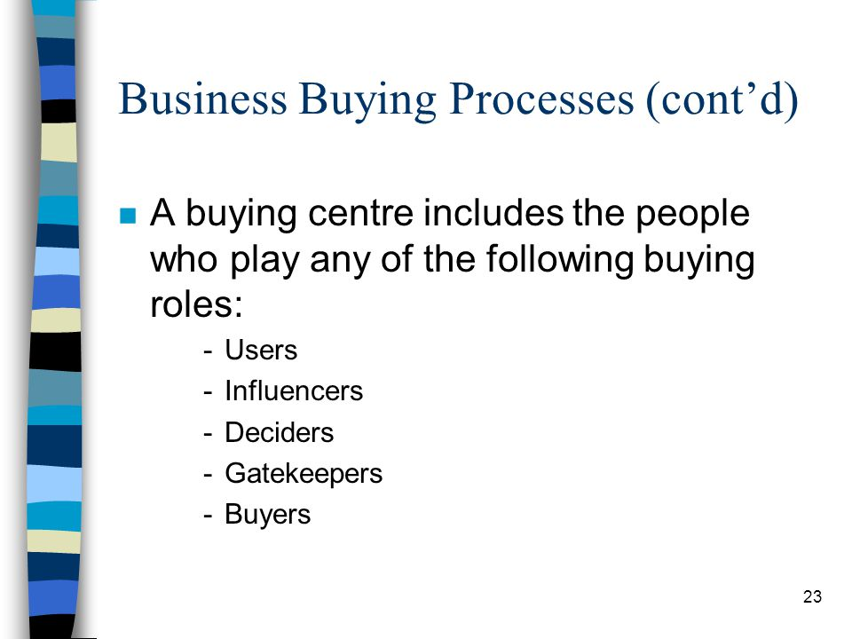 24 Business Buying Processes (contd) n Environmental concerns.
