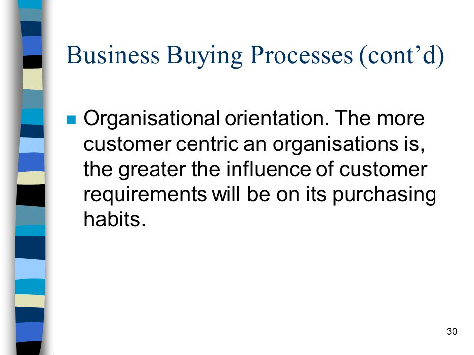 31 Business Buying Processes (contd)
