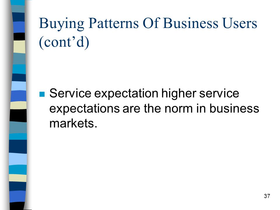 38 Buying Patterns Of Business Users (contd) n The presence of professional buyers.
