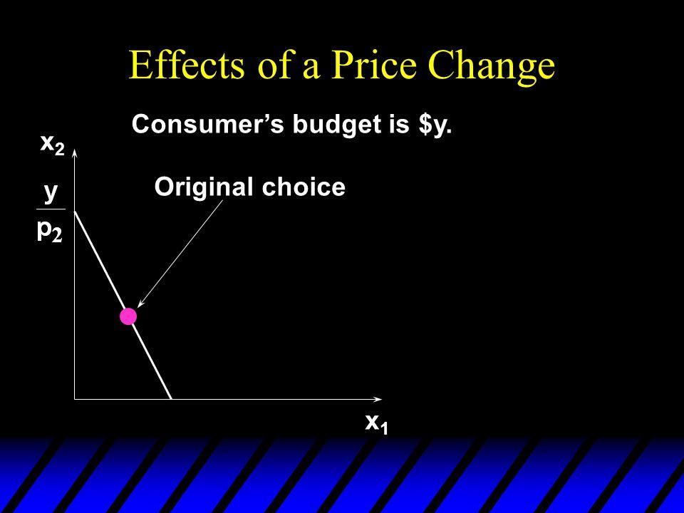 Real Income Changes x1x1 x2x2 Original budget constraint and choice New budget constraint; real income has fallen