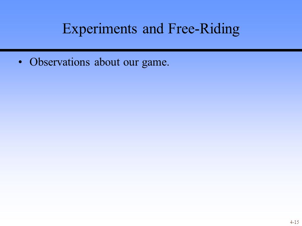 4-15 Experiments and Free-Riding Observations about our game.