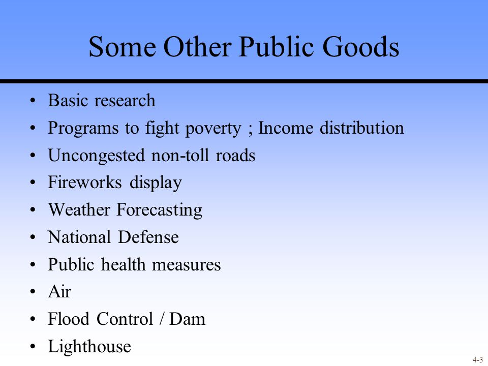 4-14 Game Theory Model of Financing Public Good Each contributor will have only a small effect on the decision to provide the PG or not.