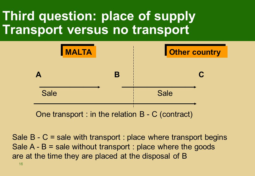 16 Third question: place of supply Transport versus no transport ABC MALTA Sale Sale B - C = sale with transport : place where transport begins Sale A - B = sale without transport : place where the goods are at the time they are placed at the disposal of B One transport : in the relation B - C (contract) Other country