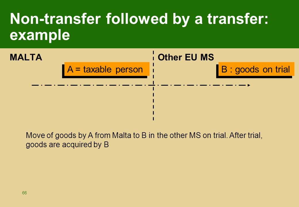 66 Non-transfer followed by a transfer: example MALTA Other EU MS A = taxable person B : goods on trial Move of goods by A from Malta to B in the othe