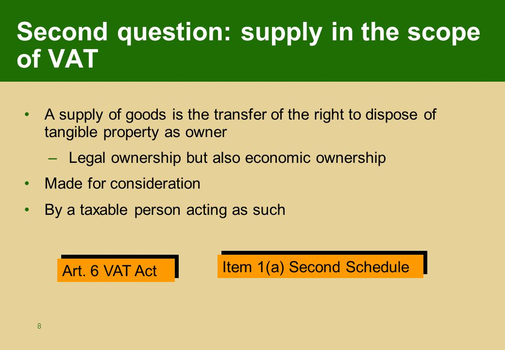 59 Non-transfer: example MALTA Other EU MS A = taxable person B B Distance sale by A to B (Deemed intra-Community) supply by a taxable person.
