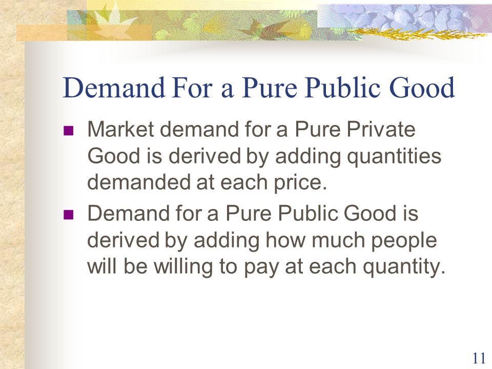 11 Demand For a Pure Public Good Market demand for a Pure Private Good is derived by adding quantities demanded at each price.
