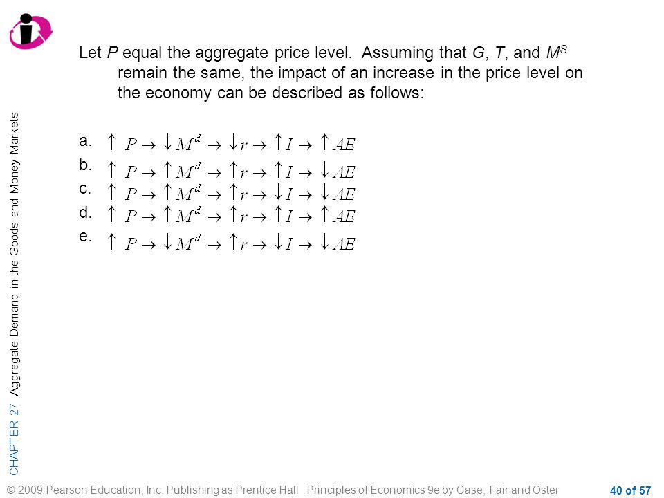 CHAPTER 27 Aggregate Demand in the Goods and Money Markets © 2009 Pearson Education, Inc. Publishing as Prentice Hall Principles of Economics 9e by Ca