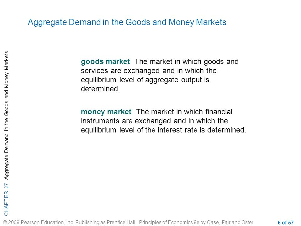 CHAPTER 27 Aggregate Demand in the Goods and Money Markets © 2009 Pearson Education, Inc.