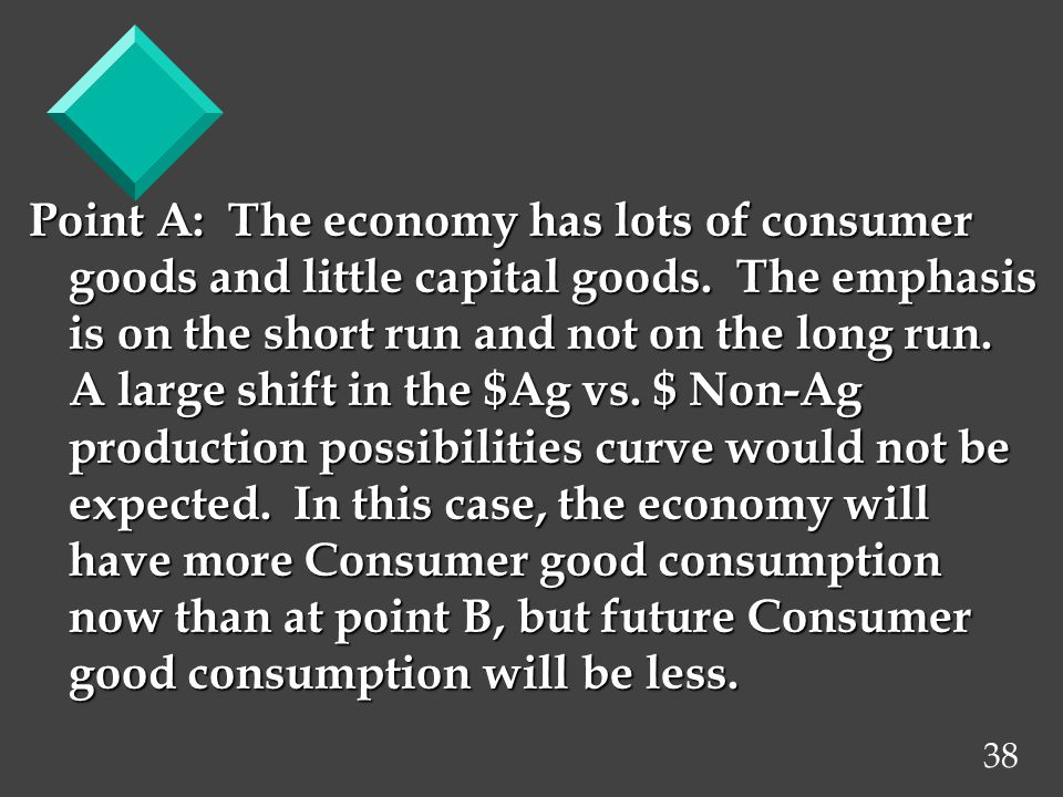 38 Point A: The economy has lots of consumer goods and little capital goods.