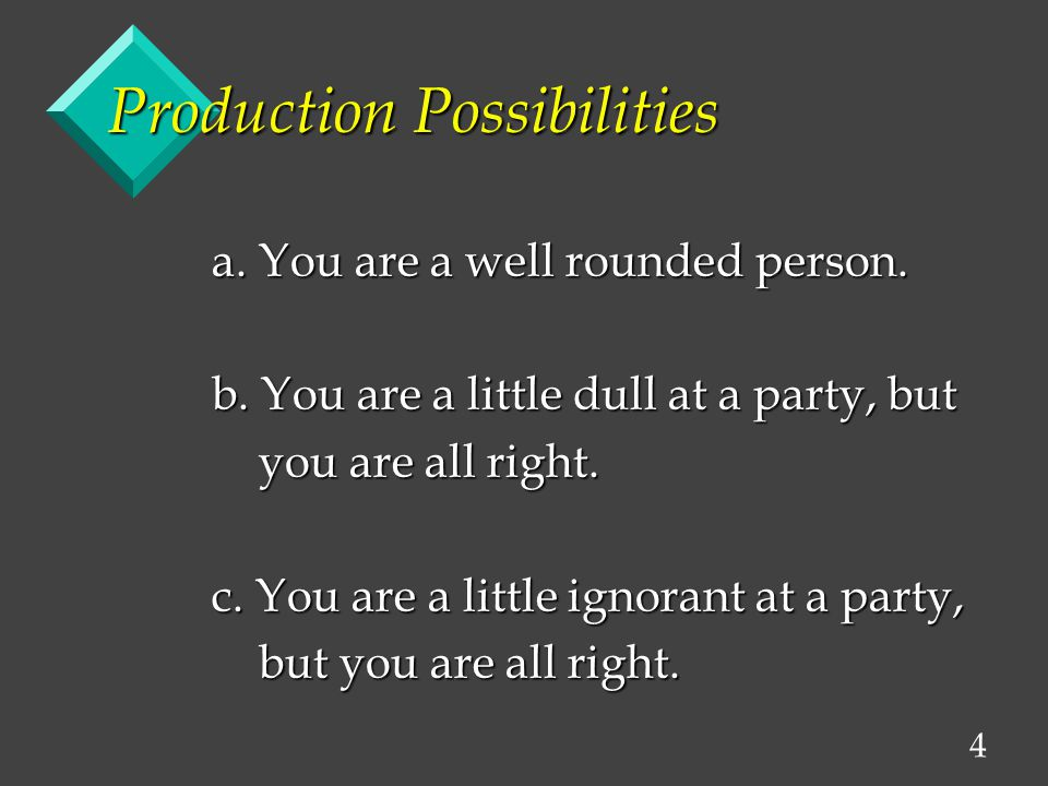 4 Production Possibilities a. You are a well rounded person. b. You are a little dull at a party, but you are all right. you are all right. c. You are