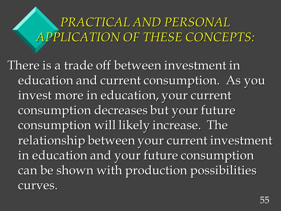 55 PRACTICAL AND PERSONAL APPLICATION OF THESE CONCEPTS: There is a trade off between investment in education and current consumption. As you invest m