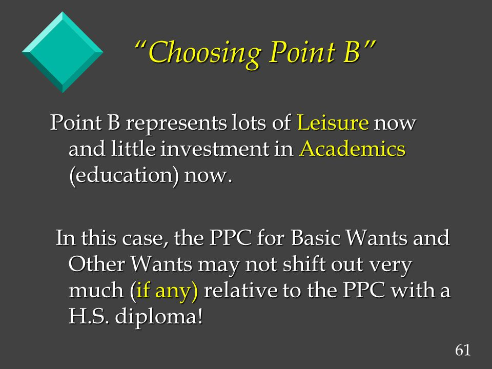 61 Choosing Point B Point B represents lots of Leisure now and little investment in Academics (education) now. In this case, the PPC for Basic Wants a