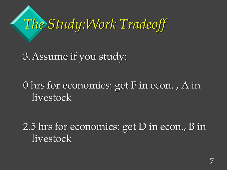 7 The Study:Work Tradeoff 3.Assume if you study: 0 hrs for economics: get F in econ., A in livestock 2.5 hrs for economics: get D in econ., B in livestock