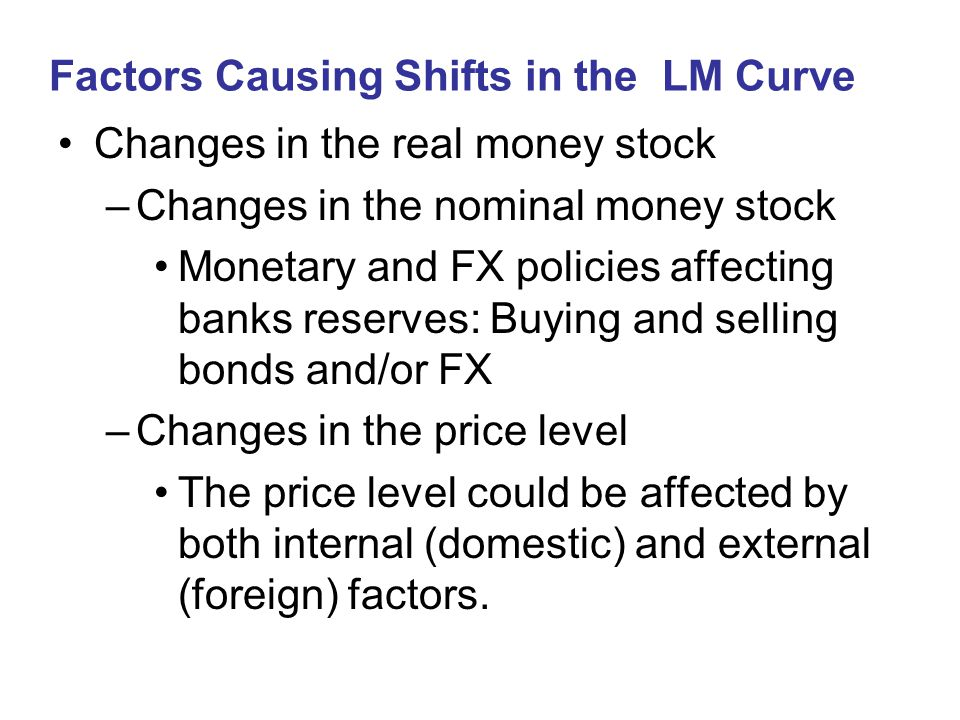 Factors Causing Shifts in the LM Curve Changes in the real money stock –Changes in the nominal money stock Monetary and FX policies affecting banks re