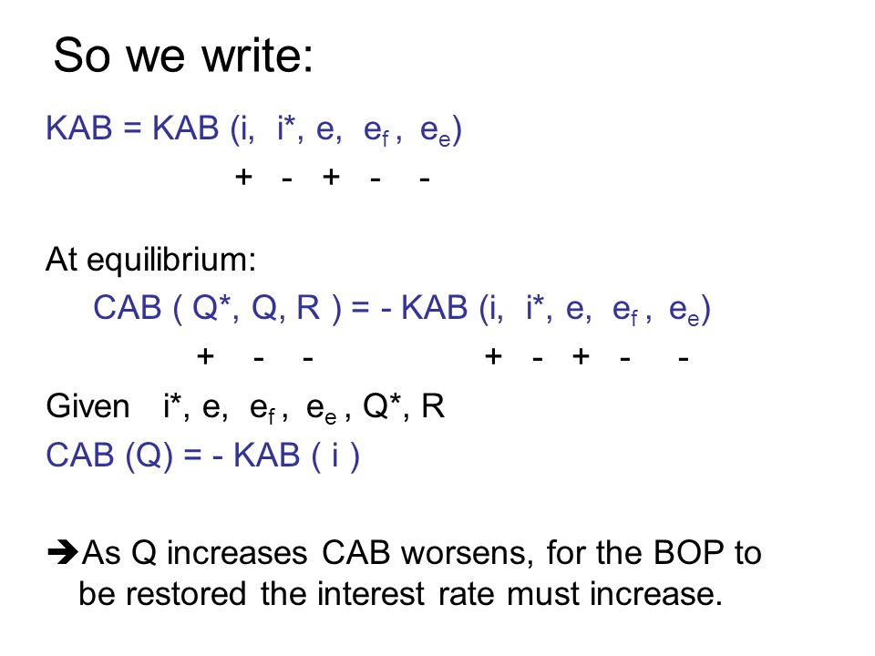So we write: KAB = KAB (i, i*, e, e f, e e ) + - + - - At equilibrium: CAB ( Q*, Q, R ) = - KAB (i, i*, e, e f, e e ) + - - + - + - - Given i*, e, e f, e e, Q*, R CAB (Q) = - KAB ( i ) As Q increases CAB worsens, for the BOP to be restored the interest rate must increase.