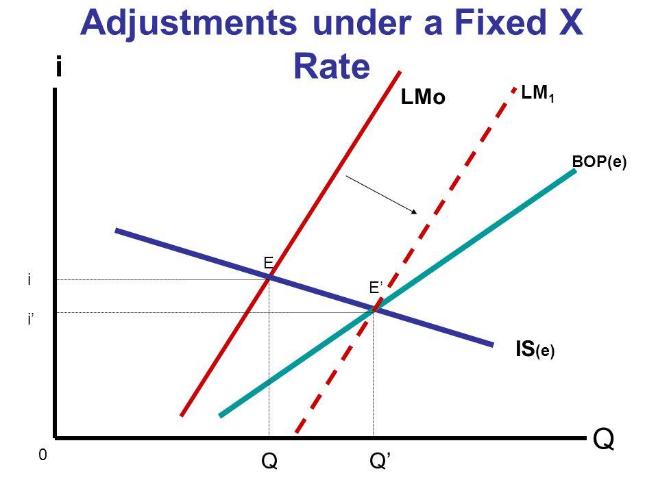 Adjustments under a Fixed X Rate Q i 0 LMo IS (e) Q Q BOP(e) E E LM 1 iiii