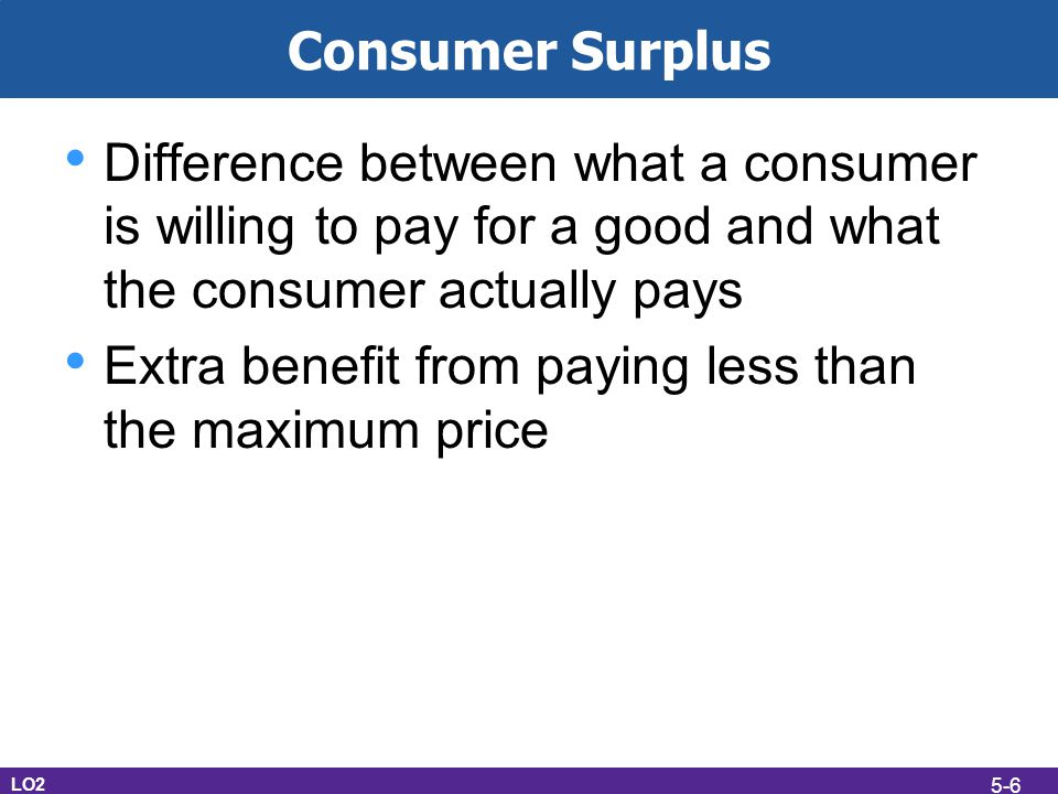 Consumer Surplus Difference between what a consumer is willing to pay for a good and what the consumer actually pays Extra benefit from paying less th