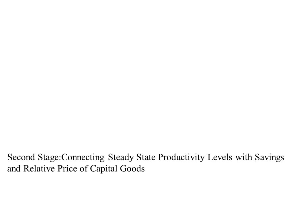 Second Stage:Connecting Steady State Productivity Levels with Savings Rates and Relative Price of Capital Goods