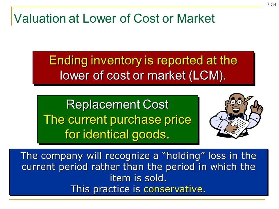 7-34 Valuation at Lower of Cost or Market Ending inventory is reported at the lower of cost or market (LCM). Replacement Cost The current purchase pri