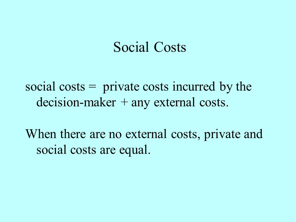 social costs = private costs incurred by the decision-maker + any external costs.