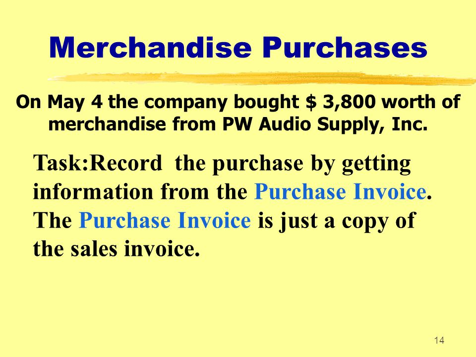14 Merchandise Purchases On May 4 the company bought $ 3,800 worth of merchandise from PW Audio Supply, Inc. Task:Record the purchase by getting infor