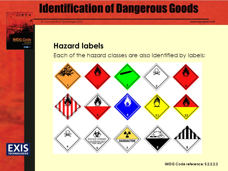 © Copyright Exis Technologies 2010www.hazcheck.com Hazard labels Each of the hazard classes are also identified by labels: Identification of Dangerous