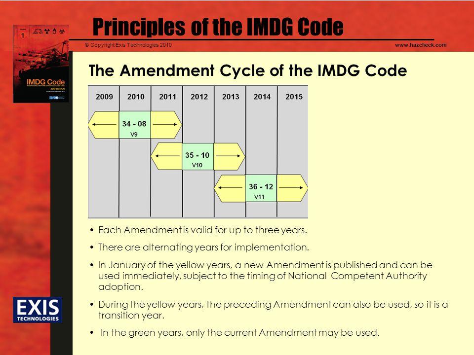 © Copyright Exis Technologies 2010www.hazcheck.com The Amendment Cycle of the IMDG Code Principles of the IMDG Code Each Amendment is valid for up to