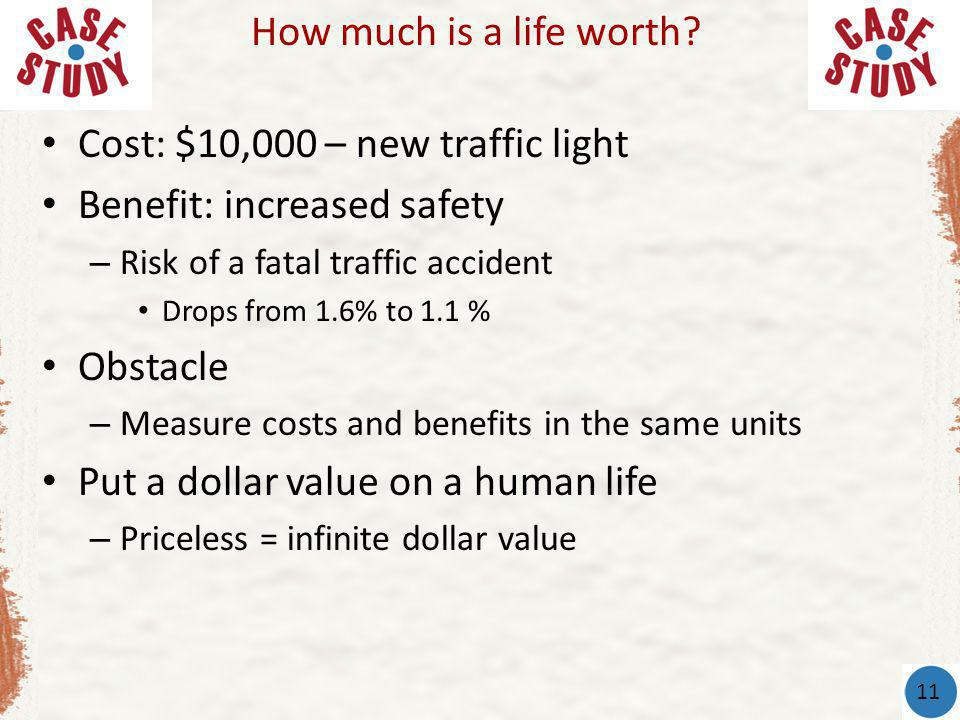 Cost: $10,000 – new traffic light Benefit: increased safety – Risk of a fatal traffic accident Drops from 1.6% to 1.1 % Obstacle – Measure costs and benefits in the same units Put a dollar value on a human life – Priceless = infinite dollar value How much is a life worth.