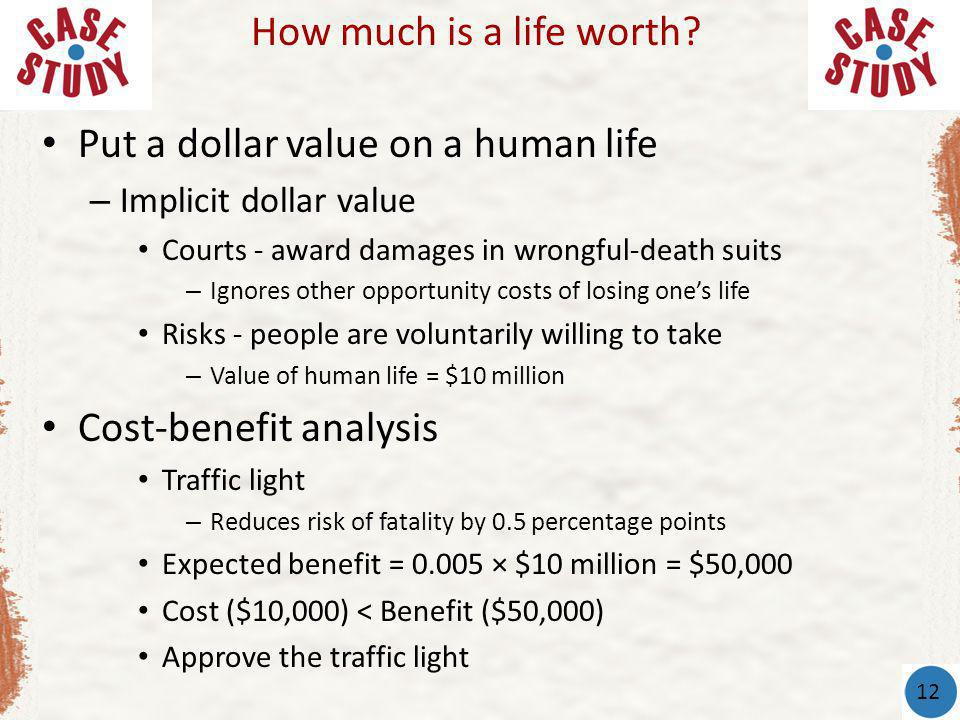Put a dollar value on a human life – Implicit dollar value Courts - award damages in wrongful-death suits – Ignores other opportunity costs of losing ones life Risks - people are voluntarily willing to take – Value of human life = $10 million Cost-benefit analysis Traffic light – Reduces risk of fatality by 0.5 percentage points Expected benefit = 0.005 × $10 million = $50,000 Cost ($10,000) < Benefit ($50,000) Approve the traffic light How much is a life worth.