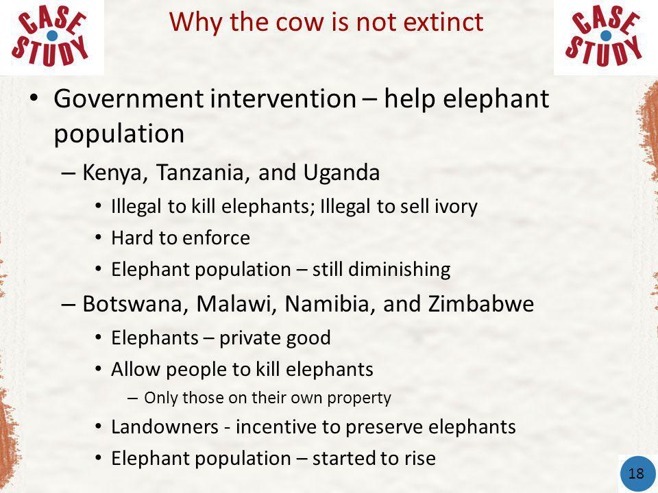 Government intervention – help elephant population – Kenya, Tanzania, and Uganda Illegal to kill elephants; Illegal to sell ivory Hard to enforce Elephant population – still diminishing – Botswana, Malawi, Namibia, and Zimbabwe Elephants – private good Allow people to kill elephants – Only those on their own property Landowners - incentive to preserve elephants Elephant population – started to rise Why the cow is not extinct 18
