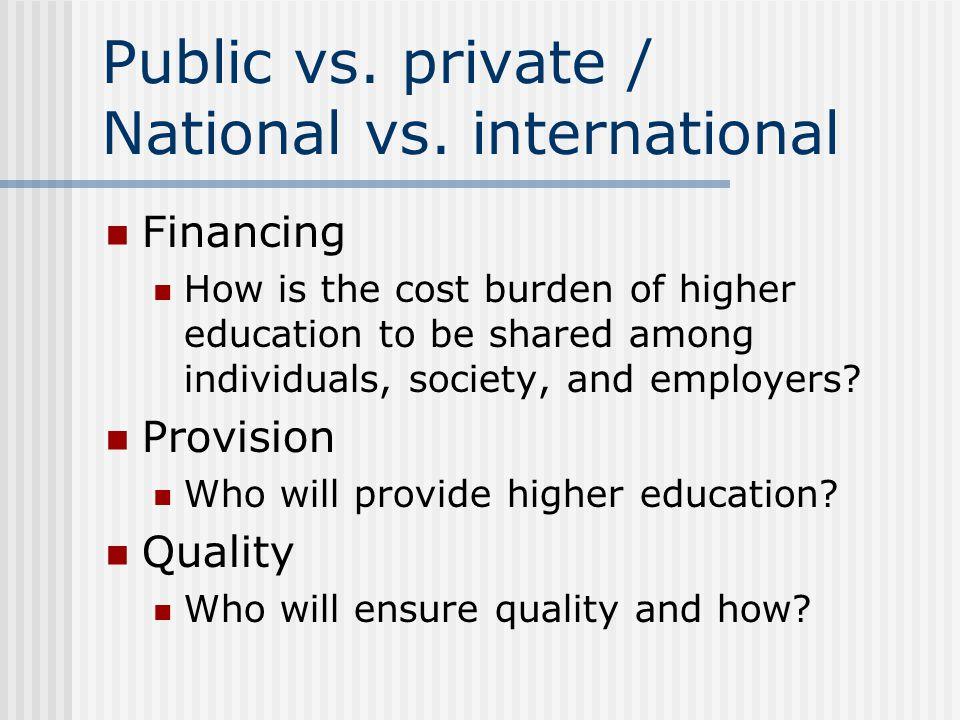 Public vs. private / National vs.