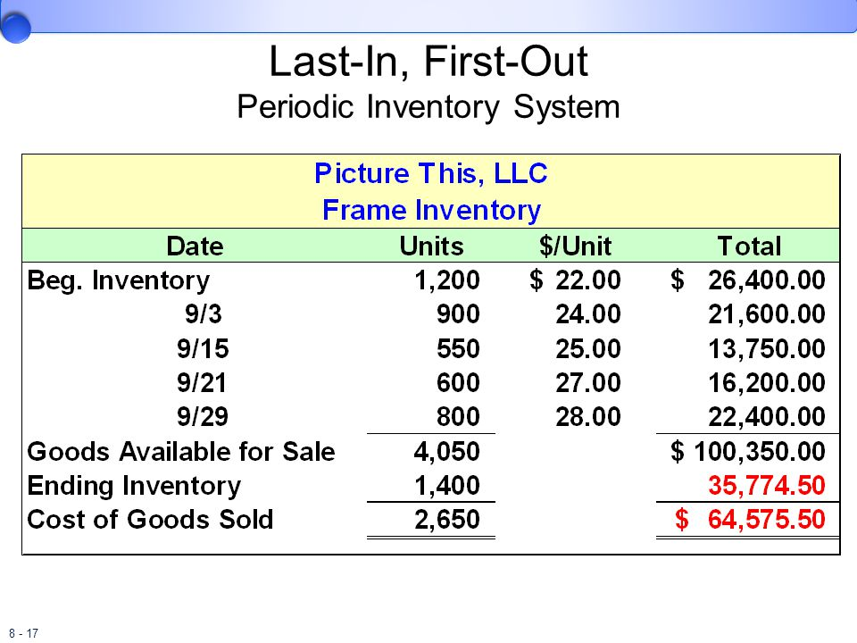 8 - 17 Last-In, First-Out Periodic Inventory System