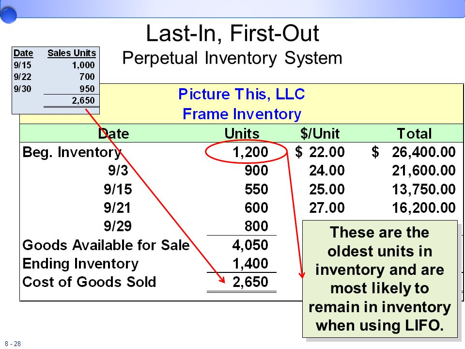 8 - 28 Last-In, First-Out Perpetual Inventory System These are the oldest units in inventory and are most likely to remain in inventory when using LIF