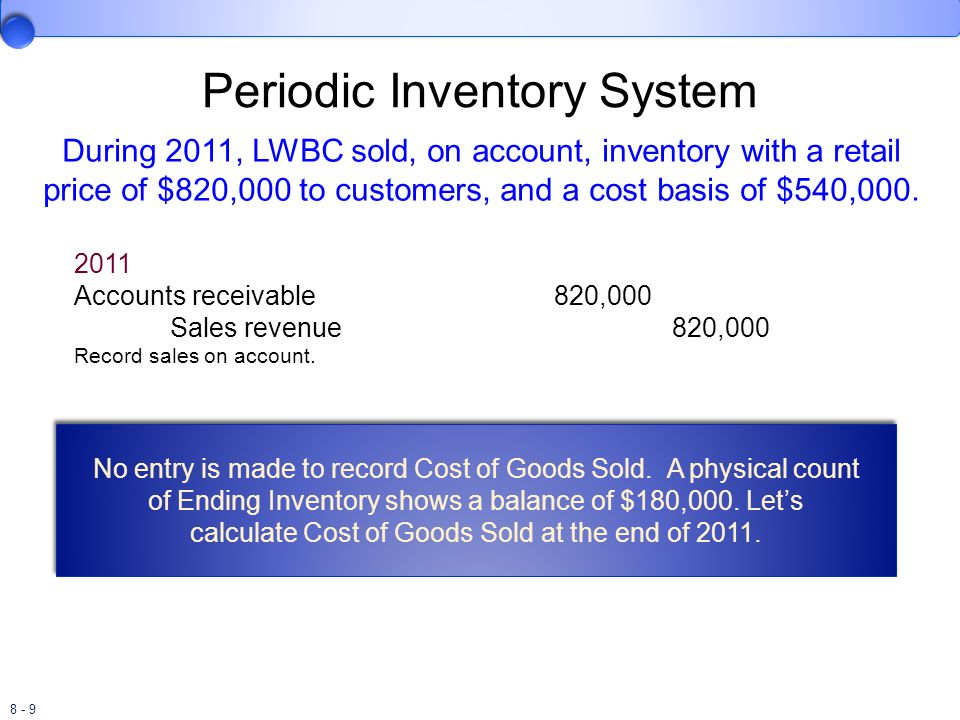 8 - 30 Last-In, First-Out Perpetual Inventory System The Cost of Goods Sold for the September 15 sale is $18,600.