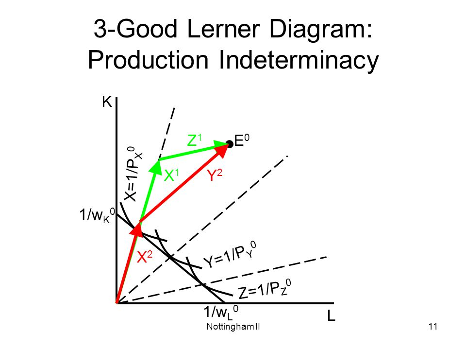 Nottingham II11 3-Good Lerner Diagram: Production Indeterminacy L K Y=1/P Y 0 X=1/P X 0 E0E0 X2X2 1/w K 0 1/w L 0 Z=1/P Z 0 Y2Y2 X1X1 Z1Z1