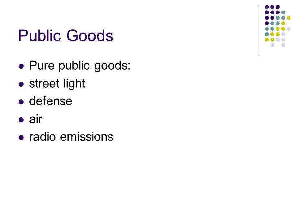 Pure public goods: street light defense air radio emissions