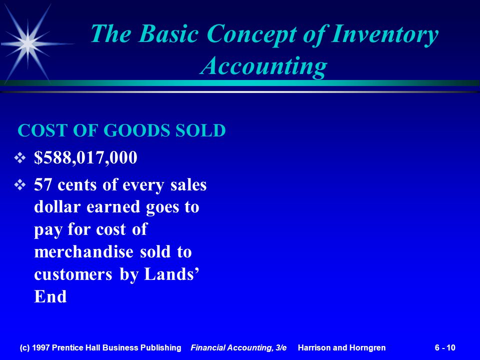 (c) 1997 Prentice Hall Business Publishing Financial Accounting, 3/e Harrison and Horngren 6 - 10 COST OF GOODS SOLD $588,017,000 57 cents of every sa