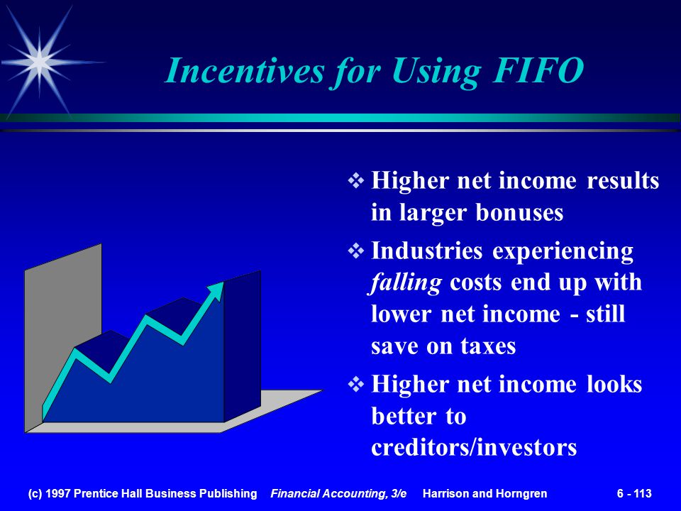 (c) 1997 Prentice Hall Business Publishing Financial Accounting, 3/e Harrison and Horngren 6 - 113 Incentives for Using FIFO Higher net income results