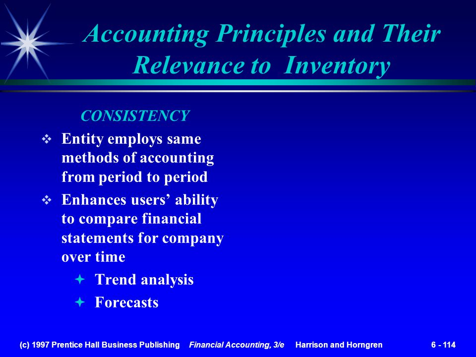(c) 1997 Prentice Hall Business Publishing Financial Accounting, 3/e Harrison and Horngren 6 - 114 Accounting Principles and Their Relevance to Invent