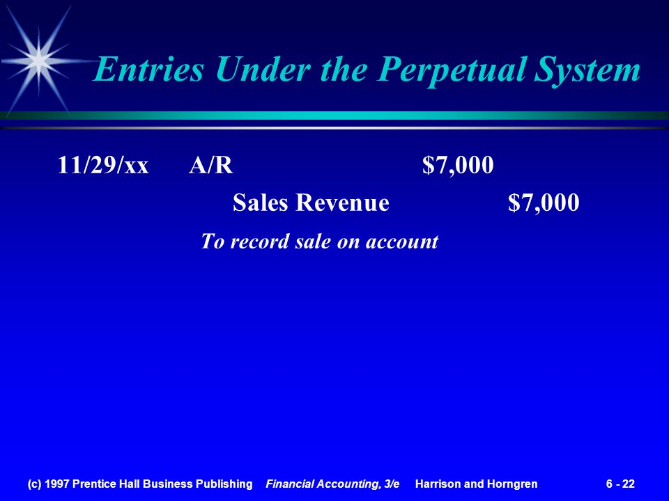 (c) 1997 Prentice Hall Business Publishing Financial Accounting, 3/e Harrison and Horngren 6 - 22 11/29/xx A/R $7,000 Sales Revenue $7,000 To record s