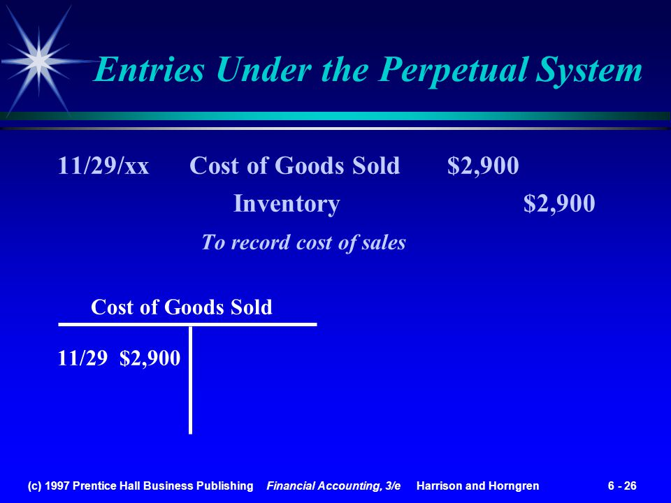 (c) 1997 Prentice Hall Business Publishing Financial Accounting, 3/e Harrison and Horngren 6 - 26 11/29/xx Cost of Goods Sold $2,900 Inventory $2,900