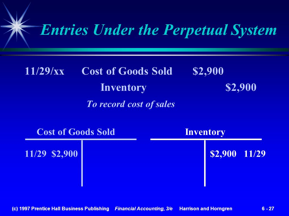 (c) 1997 Prentice Hall Business Publishing Financial Accounting, 3/e Harrison and Horngren 6 - 27 11/29/xx Cost of Goods Sold $2,900 Inventory $2,900