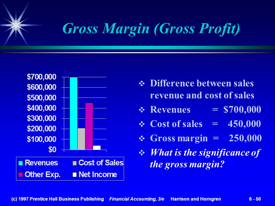 (c) 1997 Prentice Hall Business Publishing Financial Accounting, 3/e Harrison and Horngren 6 - 50 Gross Margin (Gross Profit) Difference between sales