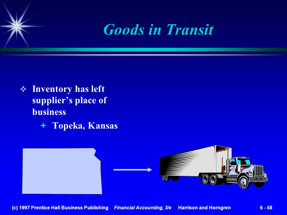(c) 1997 Prentice Hall Business Publishing Financial Accounting, 3/e Harrison and Horngren 6 - 58 Goods in Transit Inventory has left suppliers place